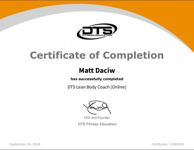 DTS Lean Body Coach Certification