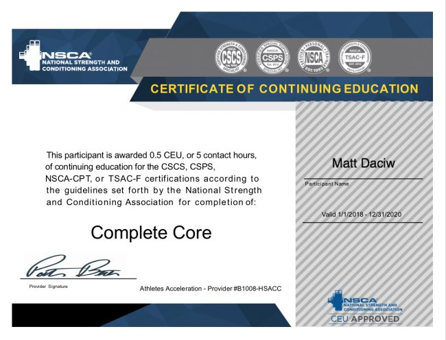 NSCA Complete Core Certification